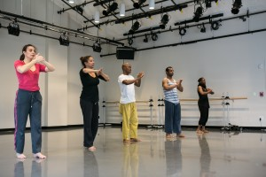 "Rehearsal of ""Threshold Sites: Feast"" on March 22, 2014 in the Cross Street Dance Studio. Photo by Sandy Aldieri."