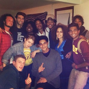 Meryem Saci (third from right) with members of R.A.W. (Rap Assembly at Wesleyan) at their weekly freestyle rap cipher on Wednesday, September 17, 2014. Photo courtesy David Stouck '15.